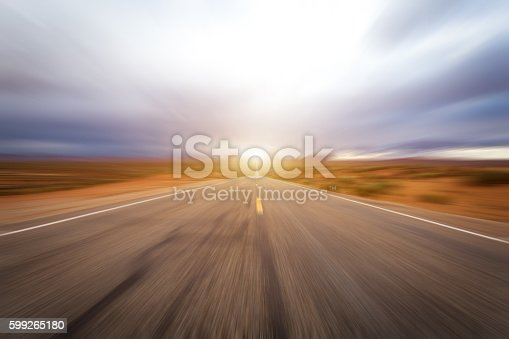istock Abstract Motion blurred asphalt road 599265180