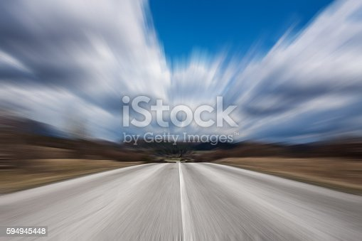 istock Abstract Motion blurred high speed road 594945448