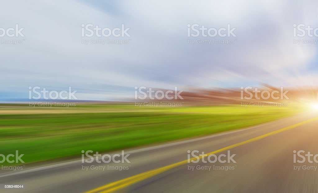 Abstract Motion blurred road stock photo