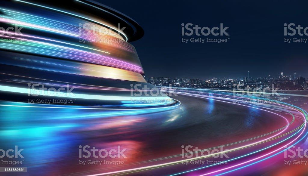 Abstract motion curvy urban road - Royalty-free Alfalto Foto de stock