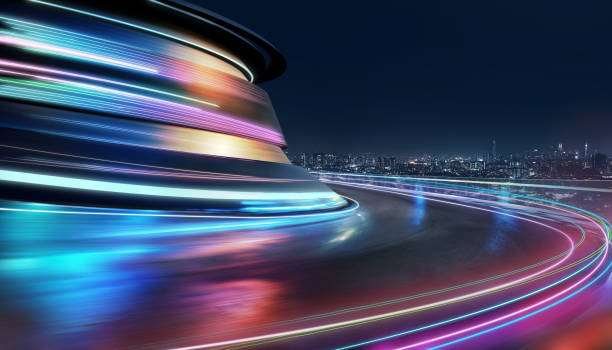 Abstract motion curvy urban road Abstract motion curvy urban road with neon light motion effect applied . Automobile background use concept . speed stock pictures, royalty-free photos & images