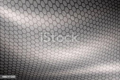 istock abstract motion hexagon steel texture 488241345