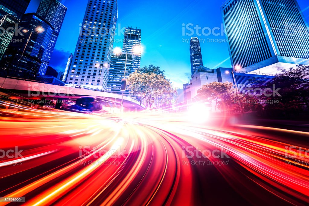 Abstract Motion Speed Light with Night City Background stock photo