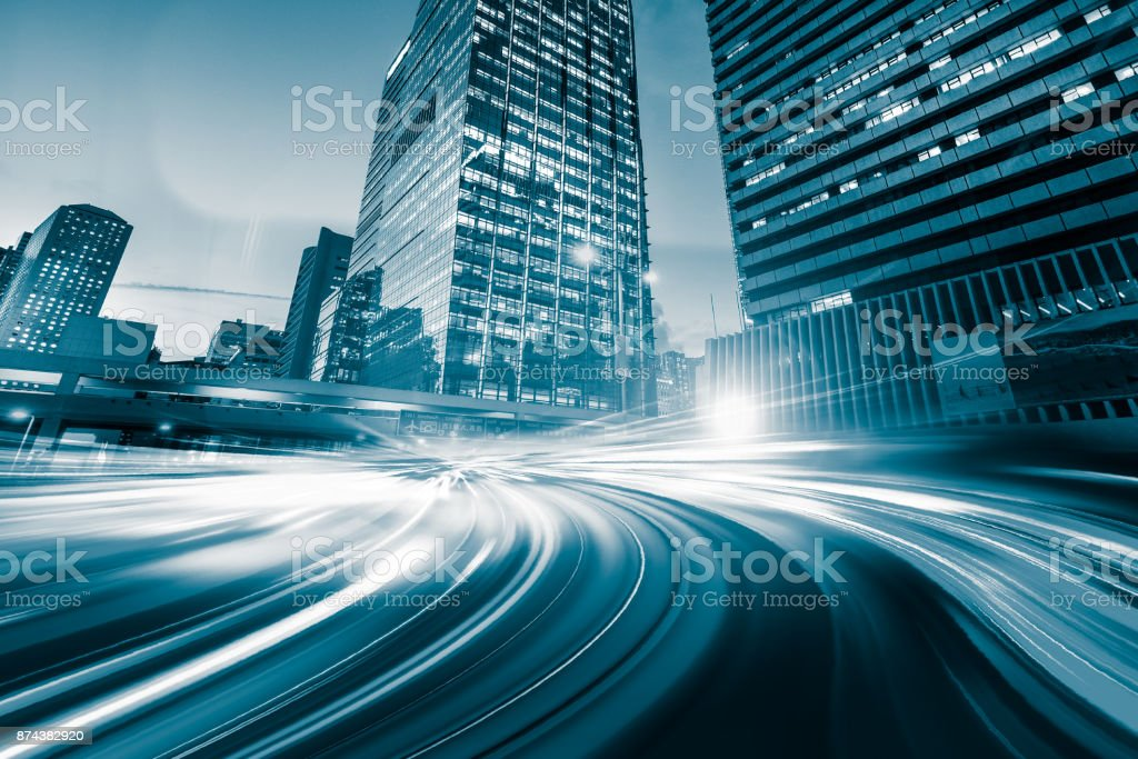 Abstrakte Bewegung Geschwindigkeit Licht bei Nacht Stadt Hintergrund – Foto