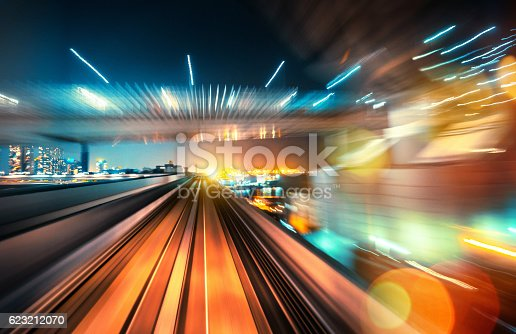 abstract motion-blurred view from the front of a train in Tokio, Japan