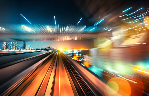 abstract motion-blurred view from a moving train - train vehicle stock photos and pictures