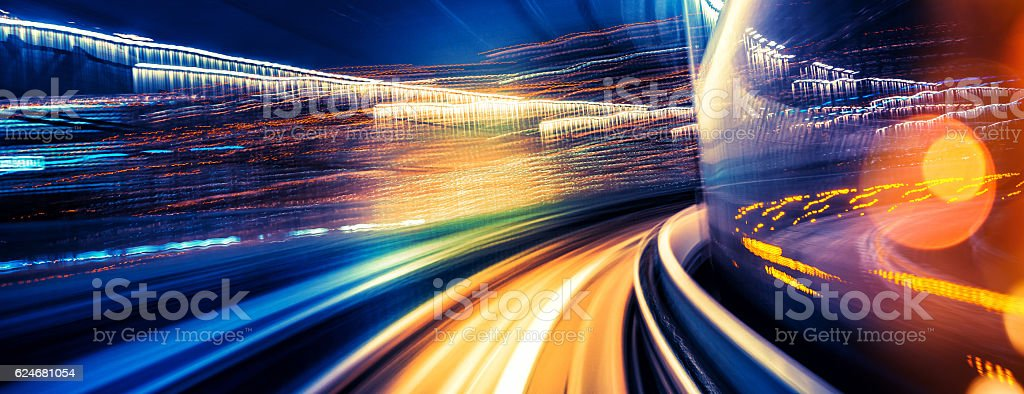 abstract motion-blurred view from a moving train stock photo