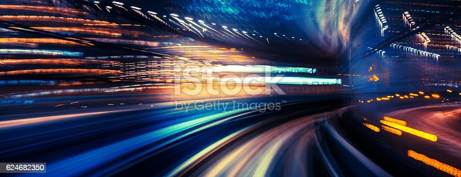 istock abstract motion-blurred view from a moving train 624682350