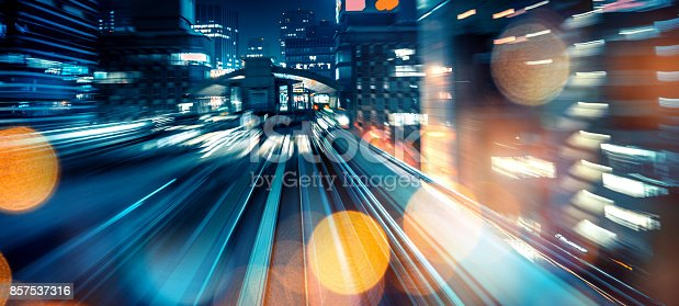 istock Abstract motion-blurred view from a moving train 857537316
