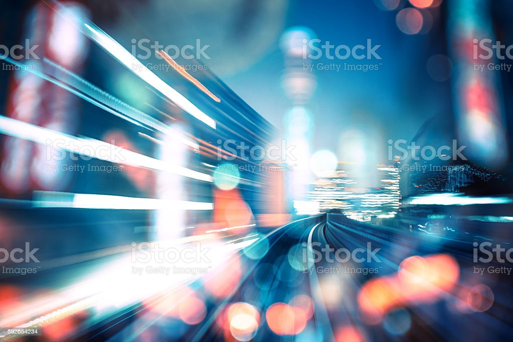 abstract motion-blurred view from the front of a train stock photo