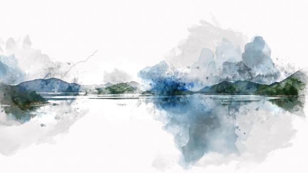 abstrakte berg und fluss see aquarellmalerei gebirgshintergrund. - farbfeldmalerei stock-fotos und bilder