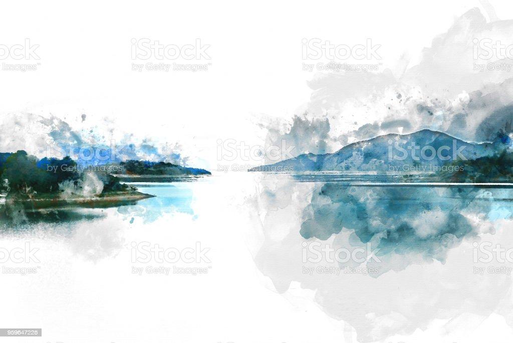 Resumen montaña Cerro y río en el fondo de acuarela. - Foto de stock de Abstracto libre de derechos