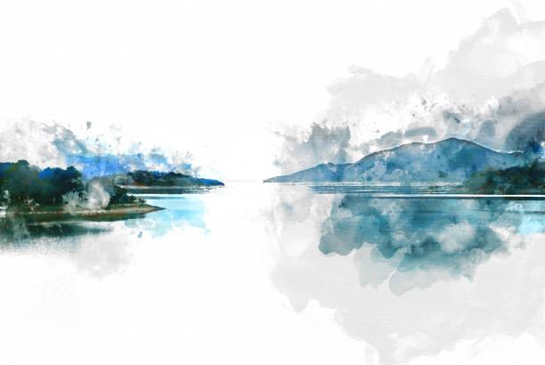 abstrakt berghügel und fluss auf aquarell hintergrund. - waldmalerei stock-fotos und bilder