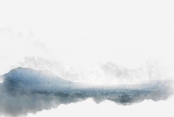 abstrakte berghügel auf aquarell hintergrund, digitale illustration pinsel zur kunst. - waldmalerei stock-fotos und bilder