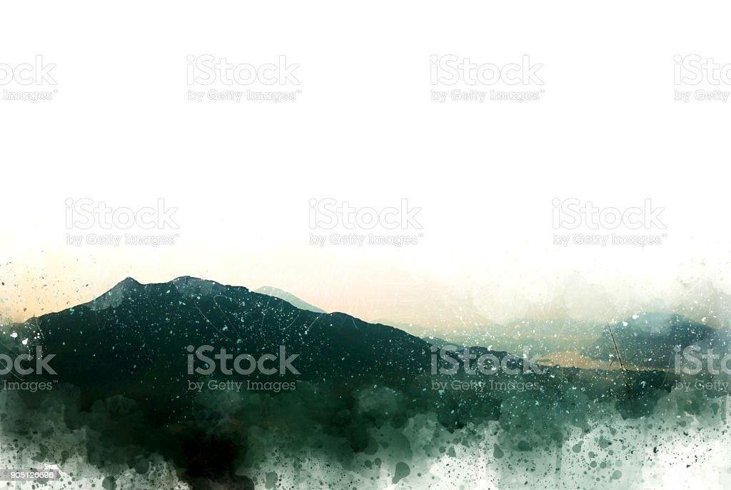 Abstract Mountain hill on watercolor painting background,  Digital illustration brush to art. stock photo
