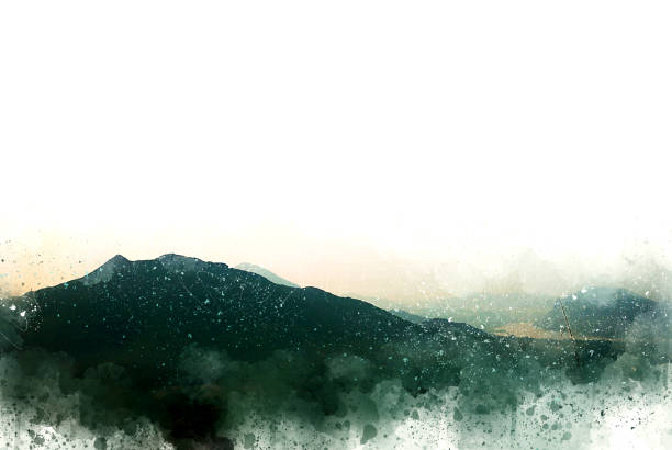 abstract mountain hill on watercolor painting background,  digital illustration brush to art. - persona in secondo piano foto e immagini stock
