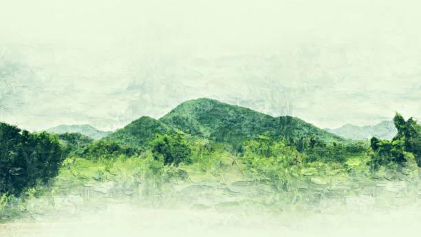 abstrakte landschaft aquarell gebirgshintergrund. - farbfeldmalerei stock-fotos und bilder