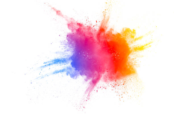 abstract multi color powder explosion on white background.  freeze motion of color dust  particles splashing. painted holi in festival - colore descrittivo foto e immagini stock