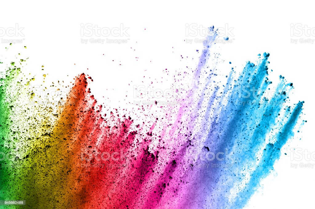 Abstract multi color powder explosion on white background.  Freeze motion of color dust  particles splashing. Painted Holi in festival stock photo