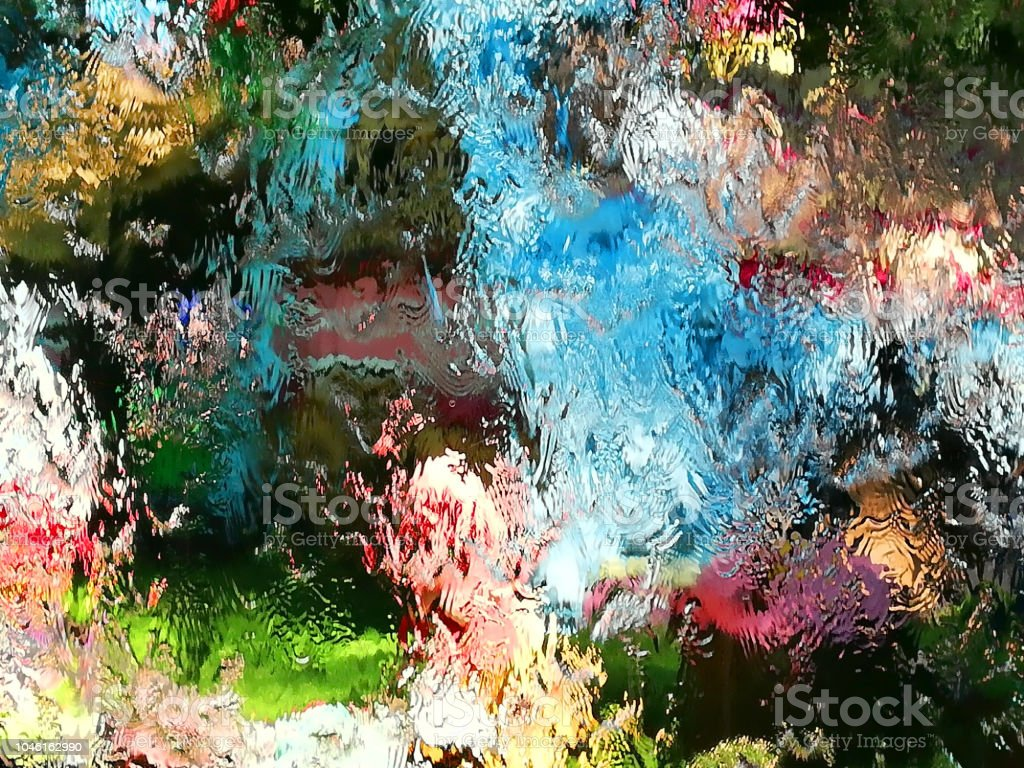 Close up on glass plate surface with water flowing on her surface,...