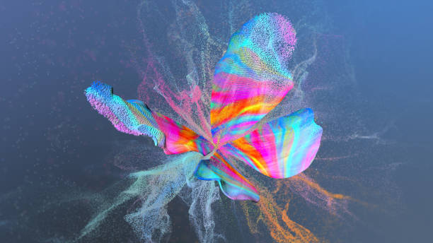 abstract multi colored background with particles paint at butterfly shape. - changing form stock pictures, royalty-free photos & images