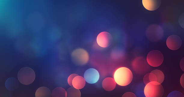 Abstract Multi Colored Bokeh Background - Lights At Night - Autumn, Fall, Winter, Christmas stock photo