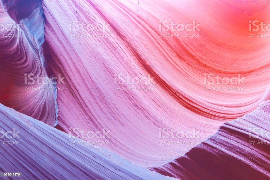 Abstrakte mehrfarbige wirbelnden Muster und Farbe Übergänge in den Kalksteinformationen, die unteren Antelope Canyon Seite Arizona USA – Foto