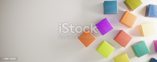 Abstract multicolored cubes, symbolizing variation, decentralization concepts. ( 3d render )