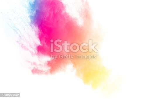 905594434 istock photo abstract multicolored dust splatter on white background.Freeze motion of color powder explosion on white background. 918583342
