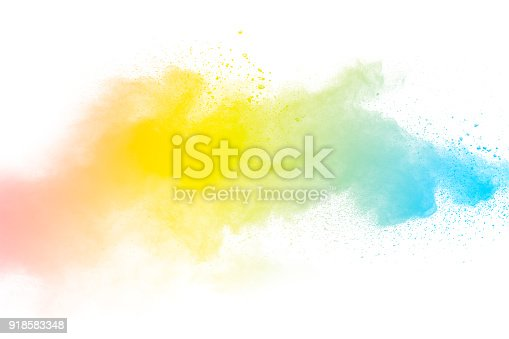 905594434istockphoto abstract multicolored dust splatter on white background.Freeze motion of color powder explosion on white background. 918583348