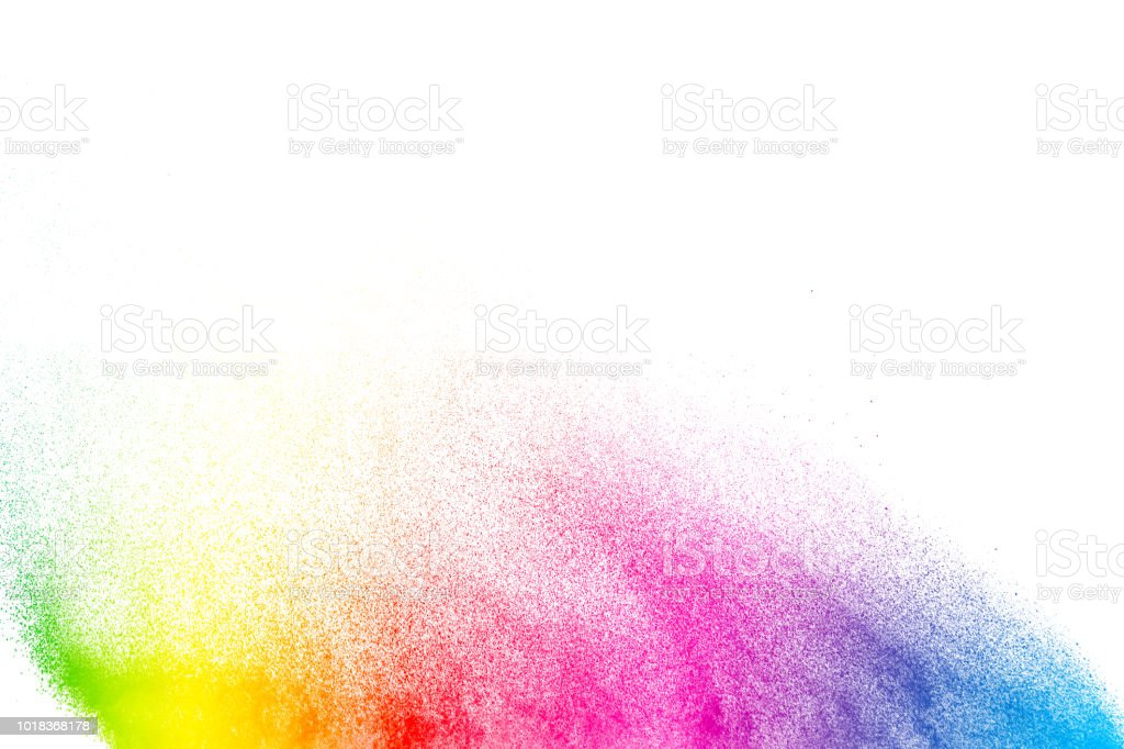 Abstract multicolored powder explosion on white background.  Freeze motion of color dust  particles splash. Painted Holi stock photo
