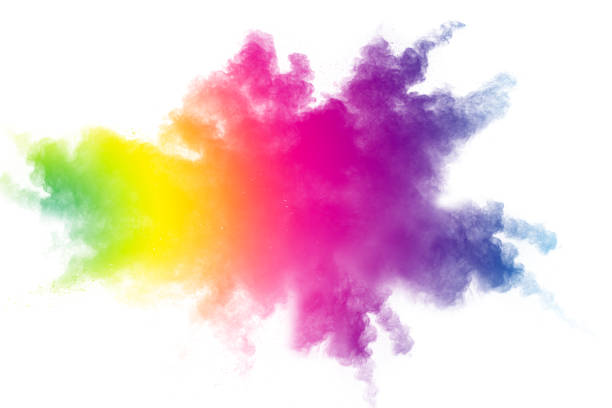 Abstract multicolored powder explosion on white background.  Freeze motion of color dust  particles splash. Painted Holi Abstract multicolored powder explosion on white background.  Freeze motion of color dust  particles splash. Painted Holi colored powder stock pictures, royalty-free photos & images