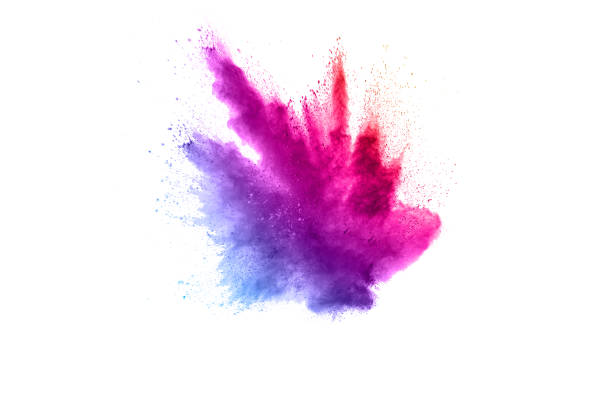Abstract multicolored powder explosion on white background.  Freeze motion of color dust  particles splash. Painted Holi Abstract multicolored powder explosion on white background.  Freeze motion of color dust  particles splash. Painted Holi burst stock pictures, royalty-free photos & images