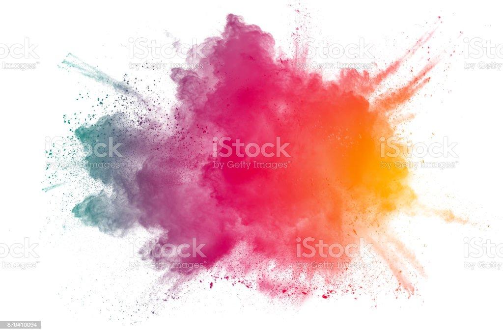 Éclaboussures abstraite poudre multicolore sur fond blanc. - Photo de Abstrait libre de droits