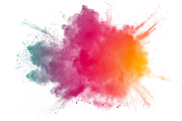 abstract multicolored powder splatter on white background. - multi colored stock pictures, royalty-free photos & images
