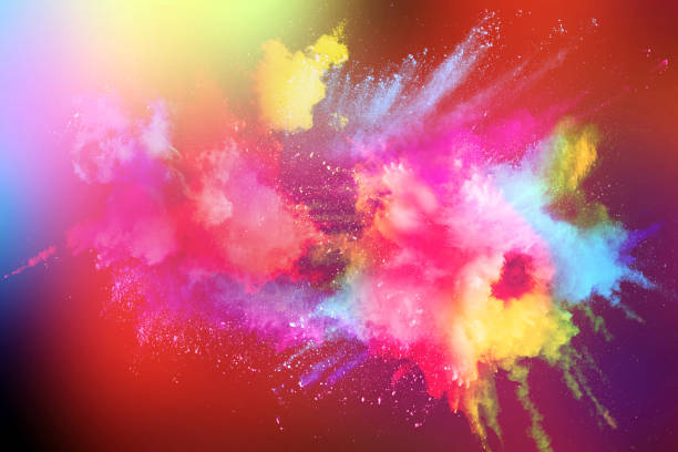 abstract multicolored powder splatter on white background. - colore descrittivo foto e immagini stock