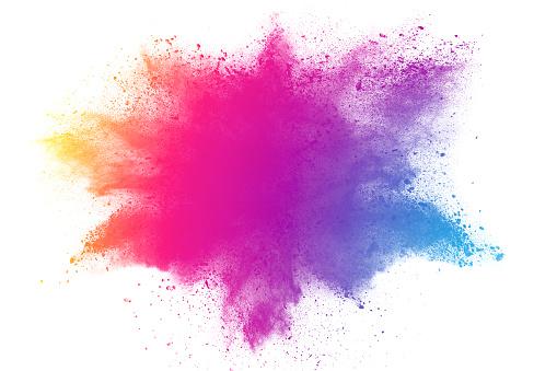 Photo libre de droit de Abstrait Poudre Multicolore Éclaboussé banque d'images et plus d'images libres de droit de Abstrait