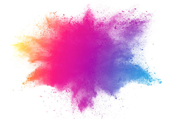 abstract multicolored powder splattered stock photo