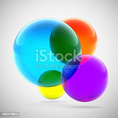 istock Abstract multicolored transparent spheres 450416825
