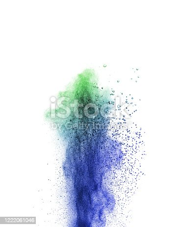 874001974 istock photo Abstract multicolored vertical powder explosion on a white background. 1222061046