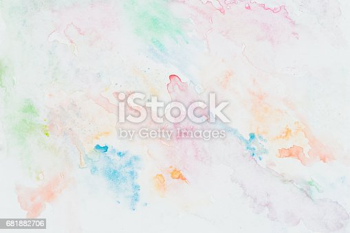 istock Abstract multicolored watercolor hand drawn image for splash delicate, elegant background, colorful shades on white. Artwork for creative modern banner, card, design 681882706