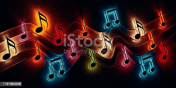 istock Abstract music background, musical notes and symbols for Christmas carol 1191960336