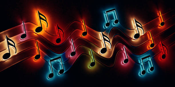 Abstract music background, musical notes and symbols for Christmas carol stock photo