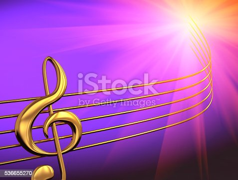 Abstract music background with golden  treble clef. 3D rendering