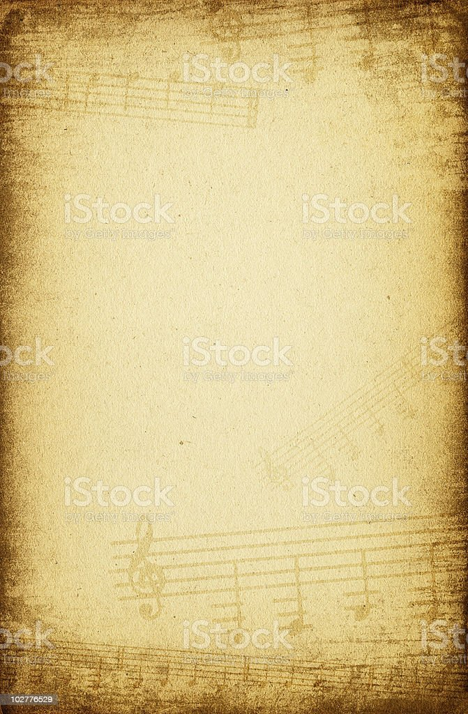 Abstract Musical Symbols On A Background Of Old Vintage Paper Stock