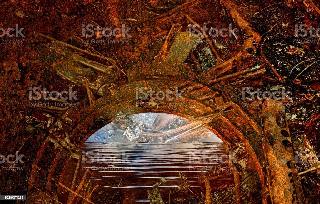 Abstrakte mystischen rostigen alten Torbogen – Foto