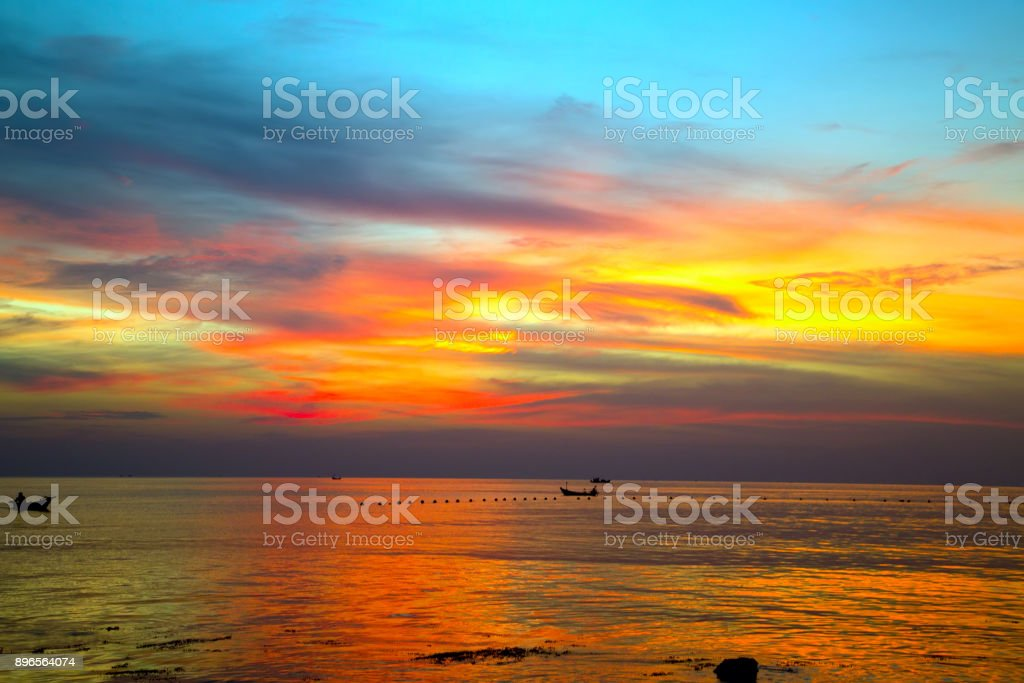 Abstract natural backgrounds orange sunset sky. Beautiful sky. stock photo