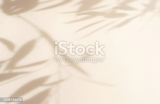 istock Abstract natural leaves shadows  background on beige color wall texture . copy space. floral card 1208134470