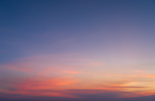Abstract nature background. Dramatic blue sky with orange colorful sunset clouds in twilight time.