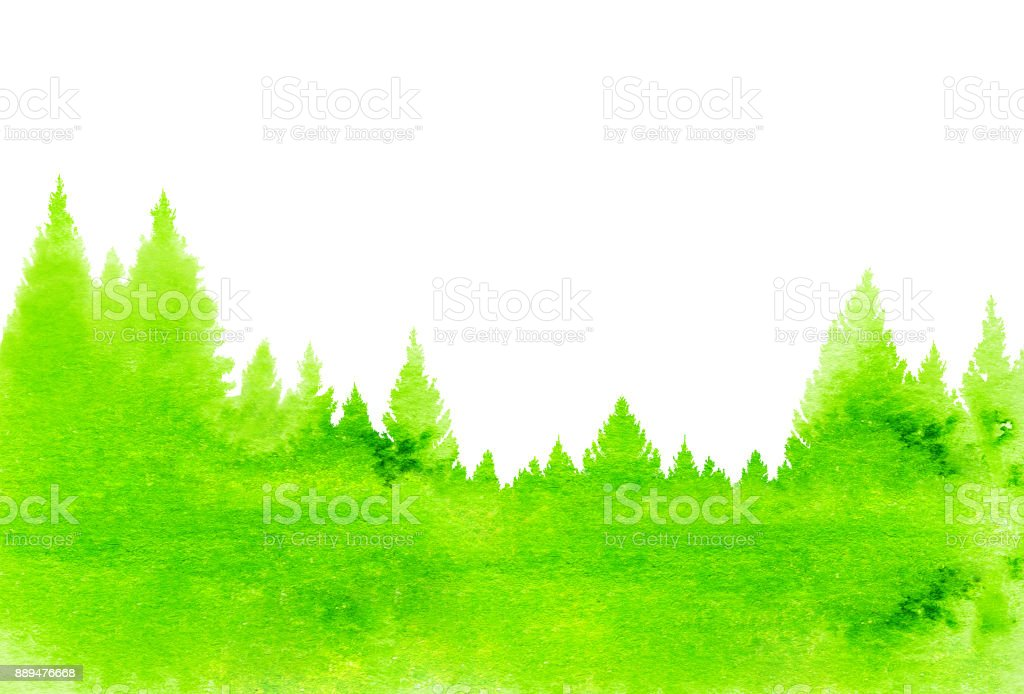 Abstract nature background of watercolor landscape with fir trees stock photo